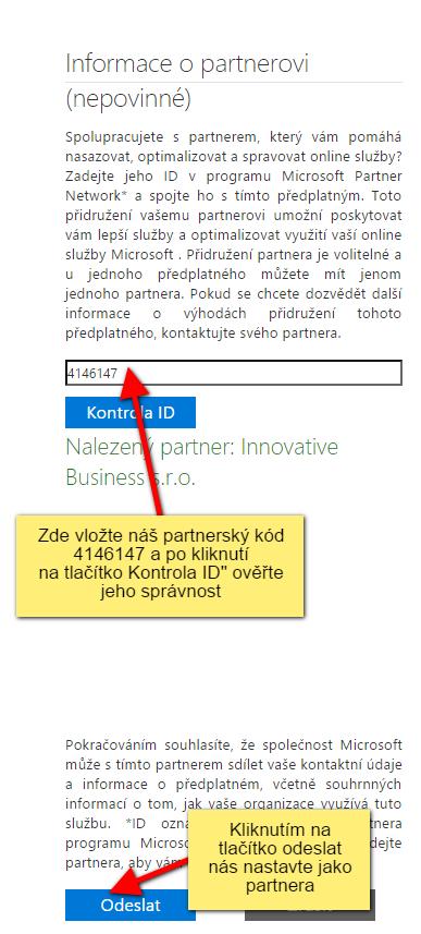 Přidání partnera pro Office 365, CRM Online, Intune, EWS - krok 3