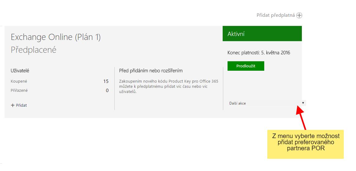 Návod na změnu partnera pro předplatné (POR) služeb Microsoft Cloud (Office 365) 3