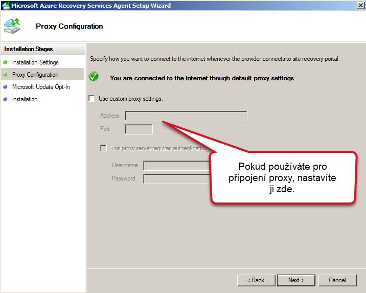 nastavení Proxy Azure Backup