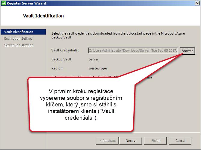 Vault credentials Azure Backup