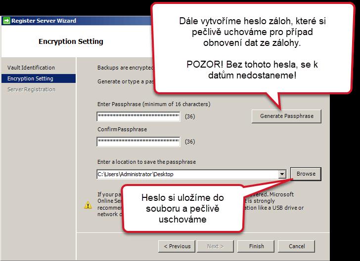 Heslo k zálohám Azure Backup