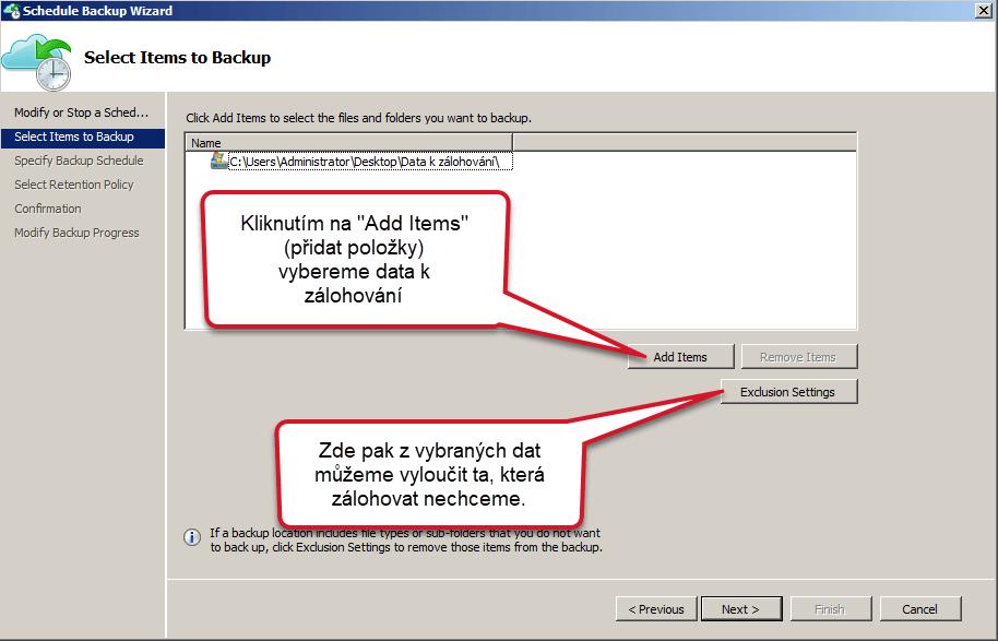 Azure Backup výběr dat