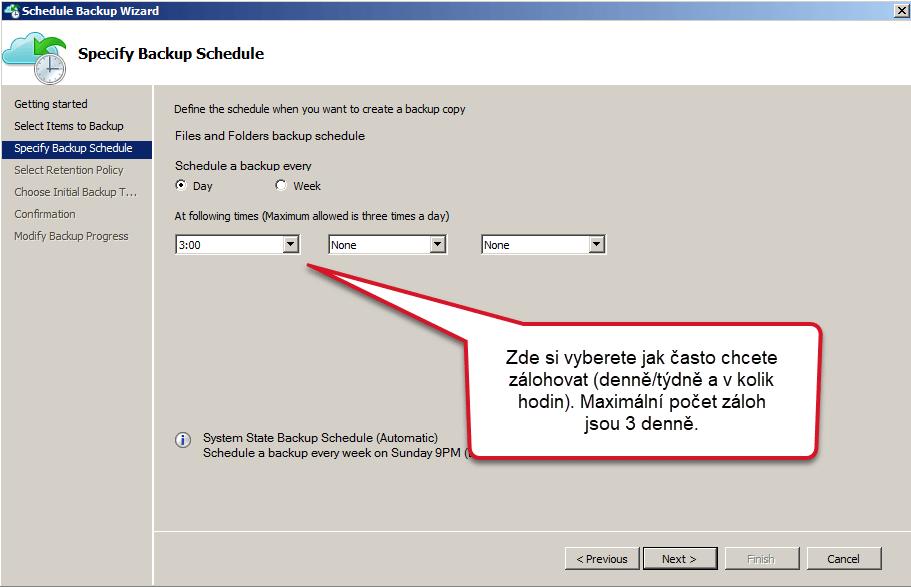 Čas a pravidelnost záloh Azure Backup