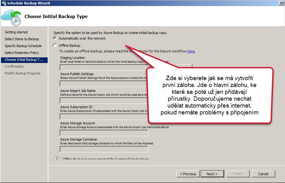 vytvoření první zálohy Azure Backup