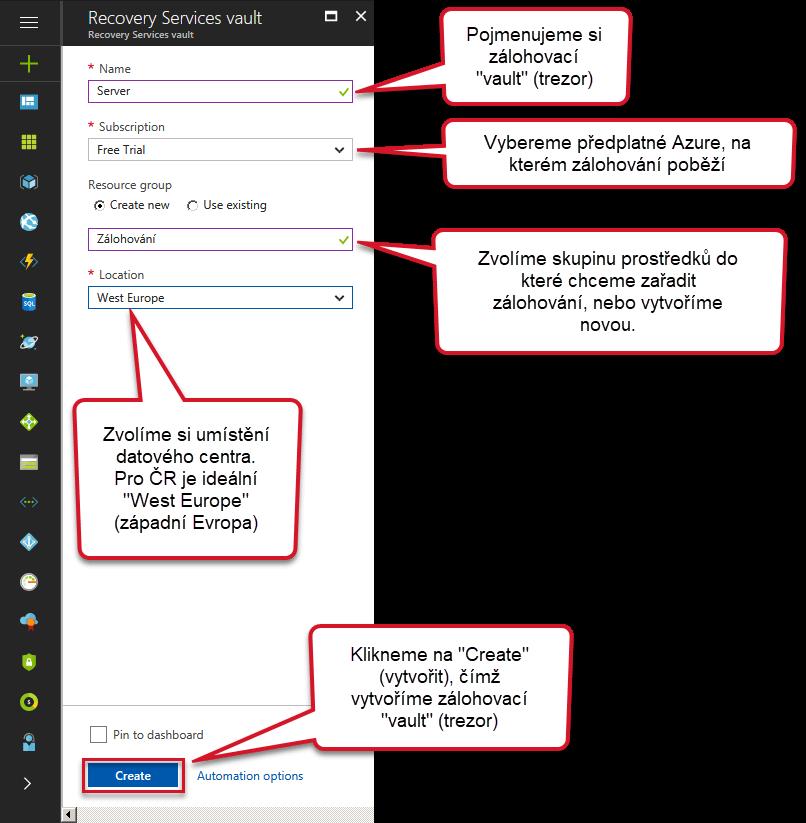 nastavení Azure Backup
