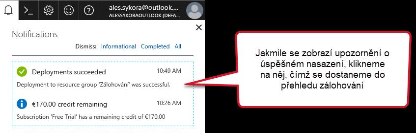 notifikace v azure