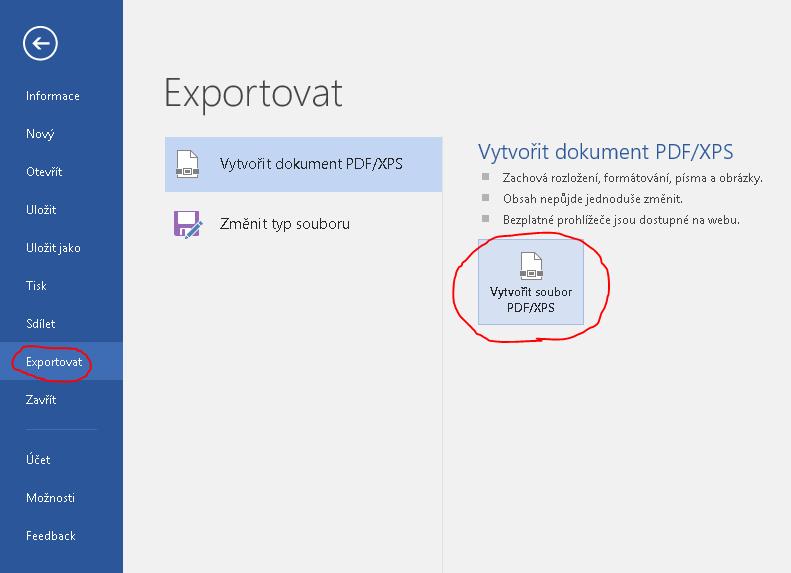 Export dokumentu Word do pdf
