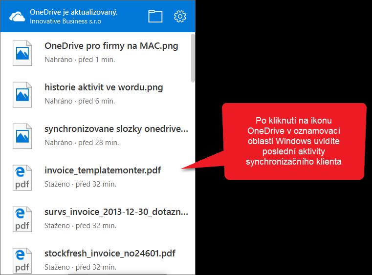 OneDrive klient - Aktivity
