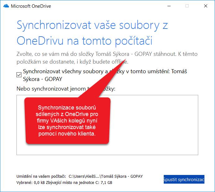 Synchronizace sdílených souborů OneDrive pro firmy