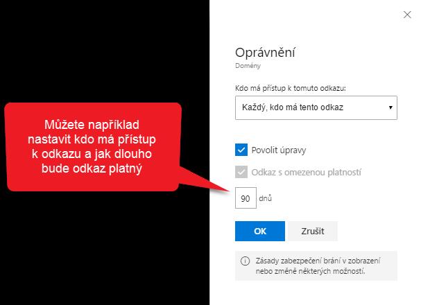 sdileni souboru z oneDrive pro firmy - opravneni