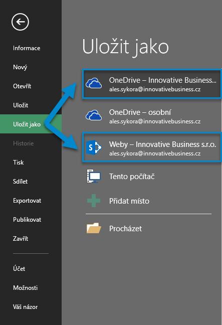 Uložení dokumentu na OneDrive pro firmy a SharePoint Online. 3. Krok ke sdílení dokumentu a práci na jednom dokumentu ve více lidech díky Office 365