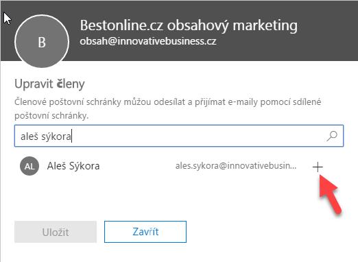 Přidání členů sdílené schránky v Office 365