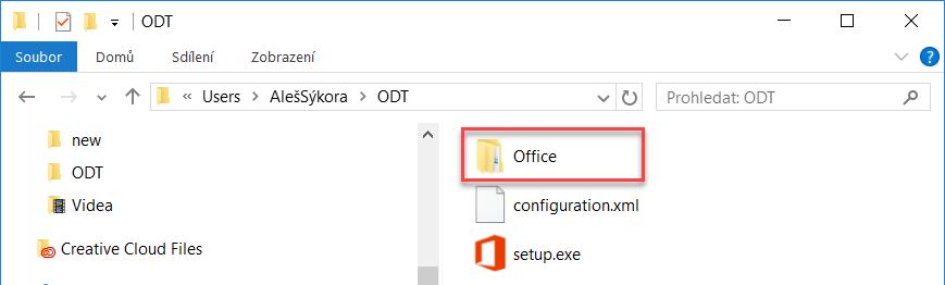 Složka instalačních souborů Office