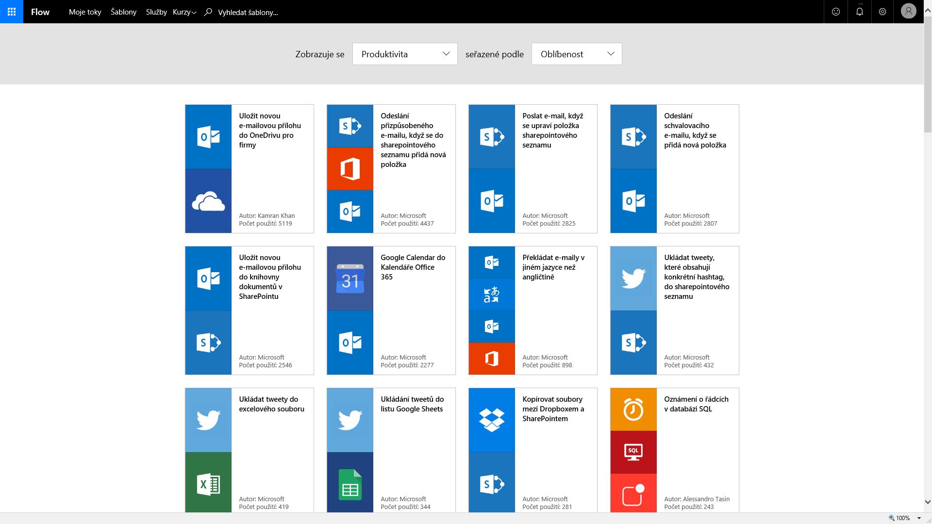Microsoft Flow - Šablony