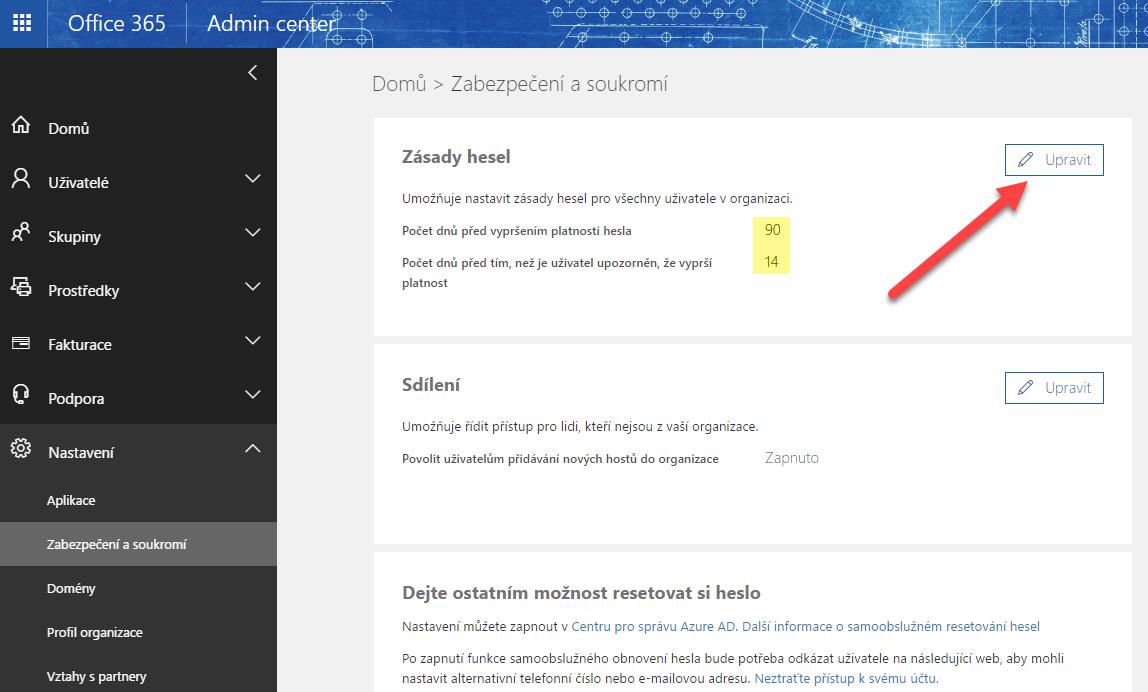 Nastavení platnosti hesla pro přihlášení do služeb Office 365 1