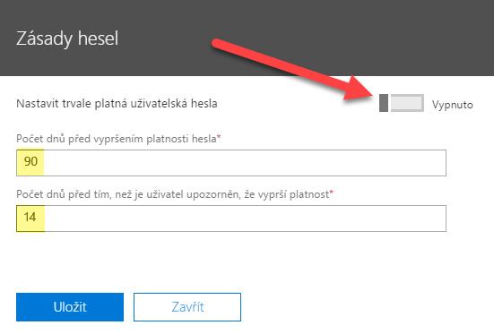 Nastavení platnosti hesla pro přihlášení do služeb Office 365 3