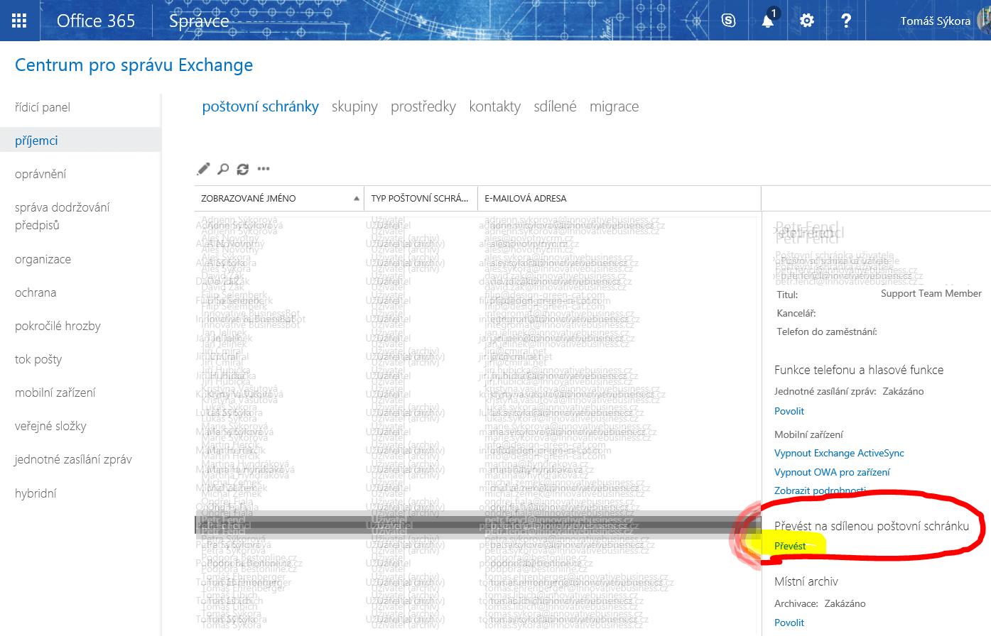 Převedení schránky na sdílenou v Exchange Online