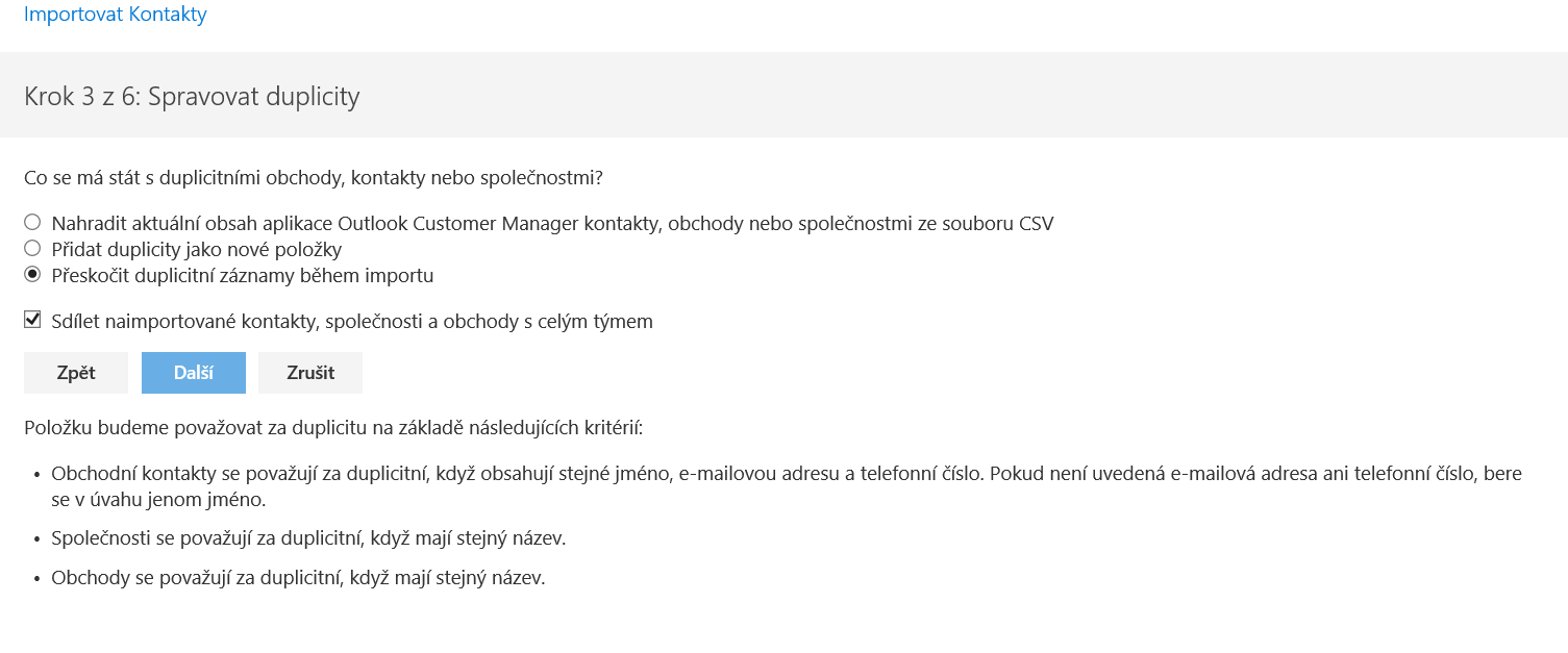 Microsoft Outlook Customer Manager Průvodce