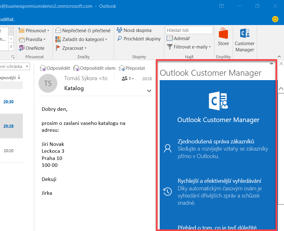 Outlook customer manager first release - nastavení