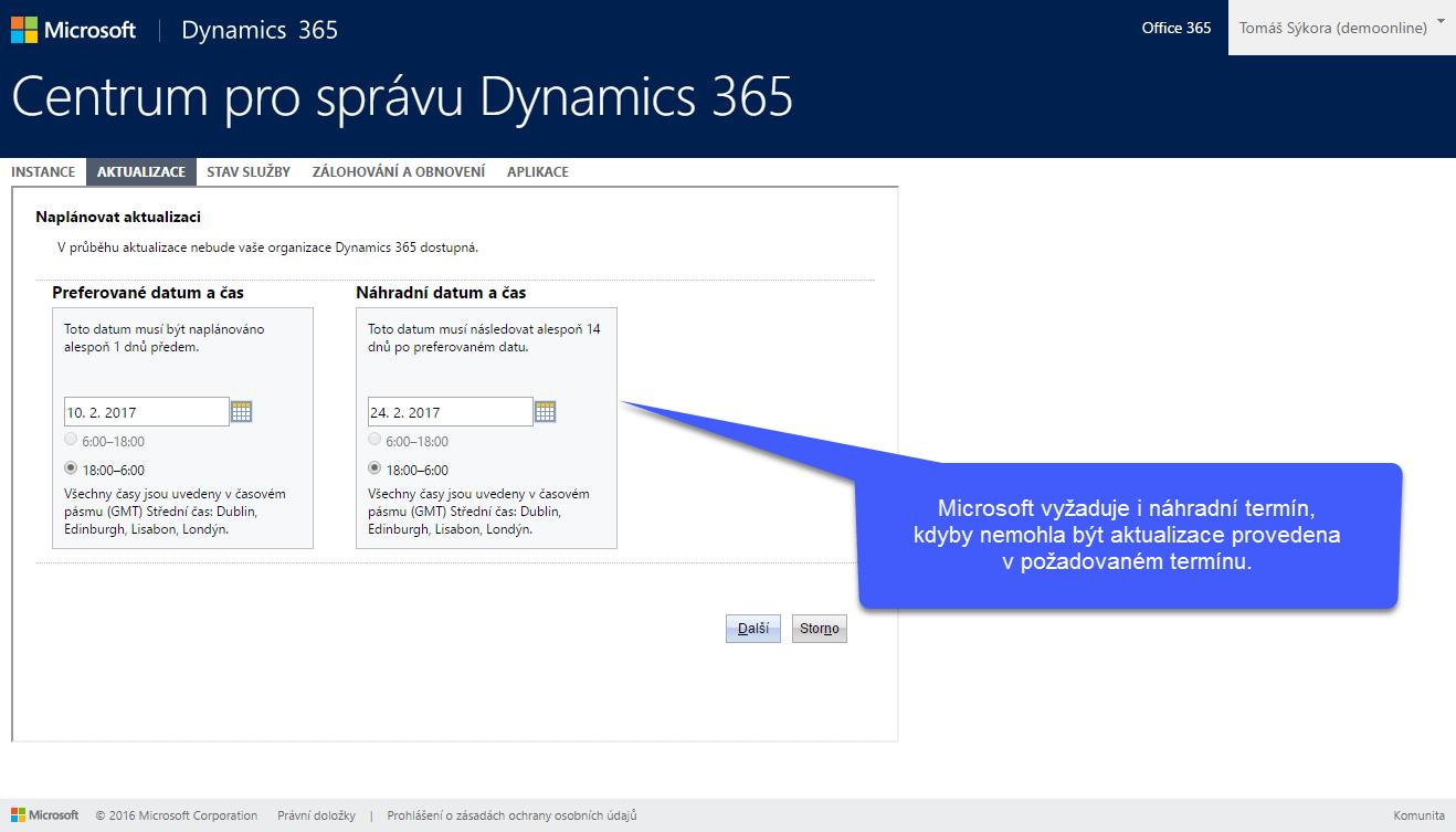 Plánování aktualizace v Dynamics 365