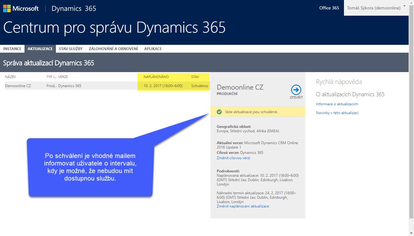 Aktualizace Microsoft Dynamics 365 - po naplánování