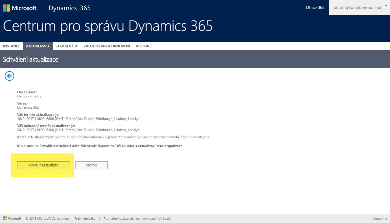 schválení aktualizace Dynamics 365