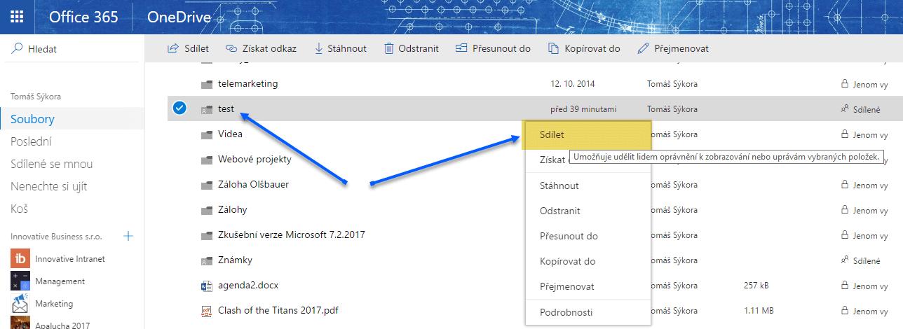 Jak nasdílet data z OneDrive pro firmy komukoliv 1