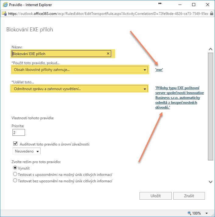Blokování EXE příloh v poště Office 365 5