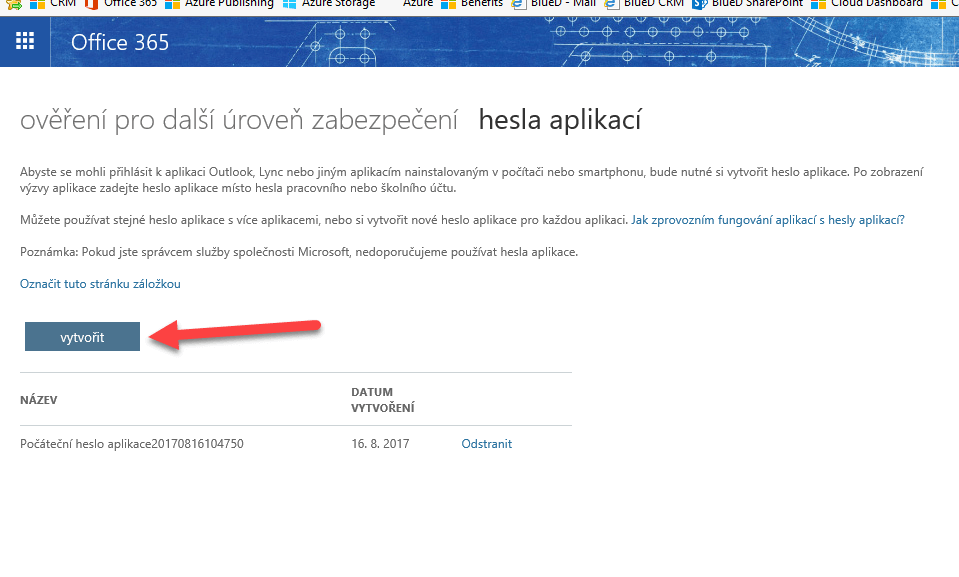 Vytvoření hesla aplikace pro Office 365 při dvoufázové autentifikaci 11