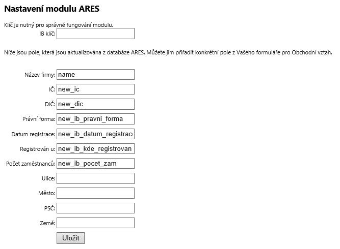 Nastavení modulu ARES