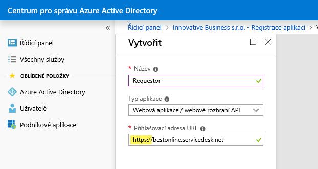 Nastavení SSO pro službu Requestor v Azure Active Directory (Office 365) 7
