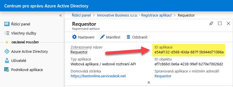 Nastavení SSO pro službu Requestor v Azure Active Directory (Office 365) 9