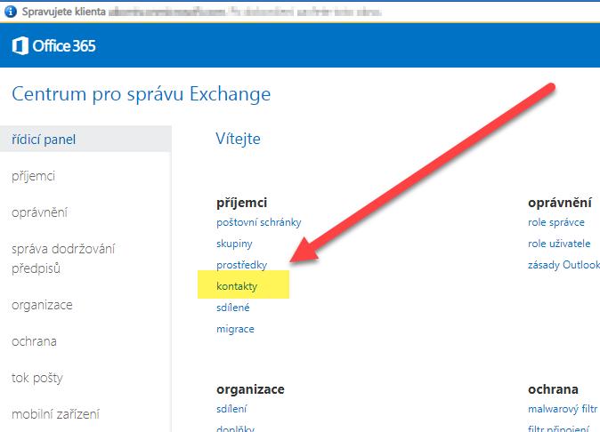 Jak do distribučního seznamu v Office 365 přidat externí kontakty 3