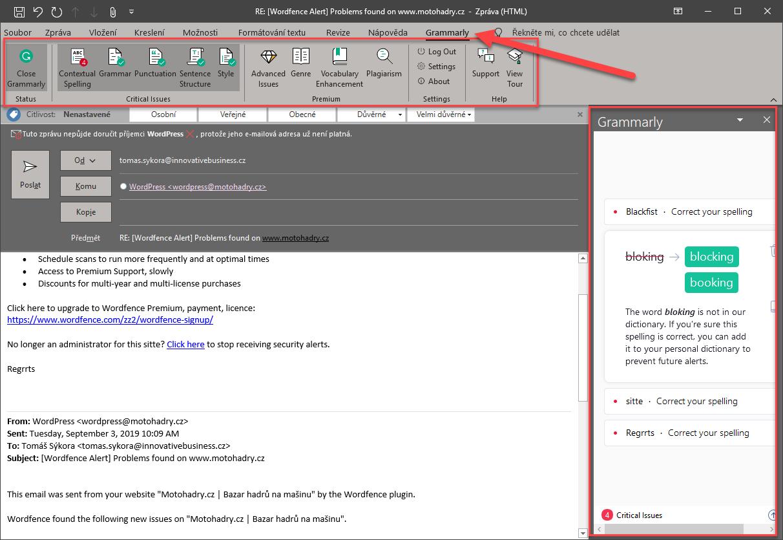 Doplněk Grammarly v aplikaci Outlook.