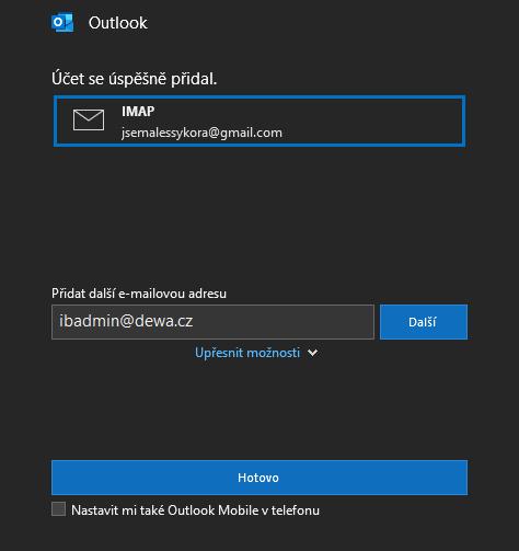 Dokončení přidání účtu v Outlooku