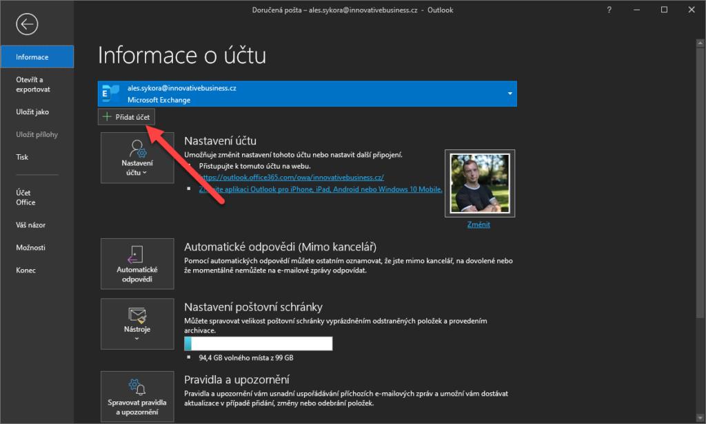 Nastavení účtu Gmail v Outlooku 3