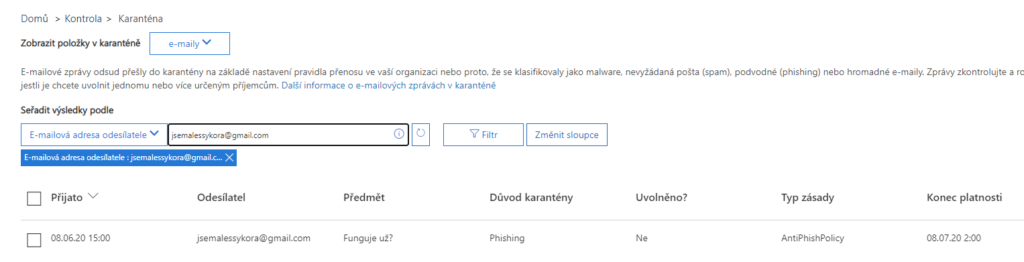 Microsoft 365 anti phishingový filtr odmítá zprávy z vašeho freemailu 1