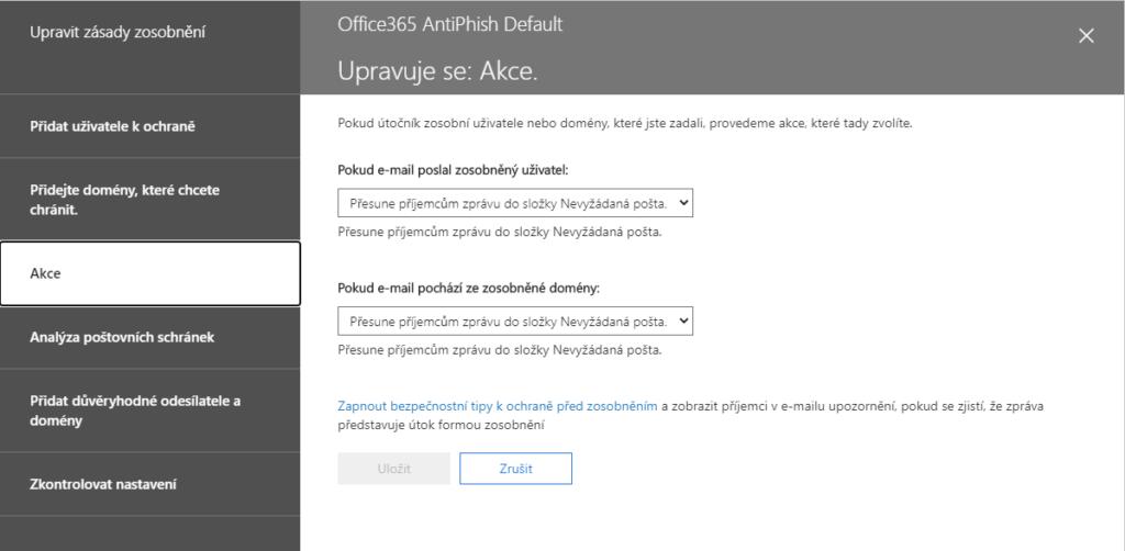 Microsoft 365 anti phishingový filtr odmítá zprávy z vašeho freemailu 5