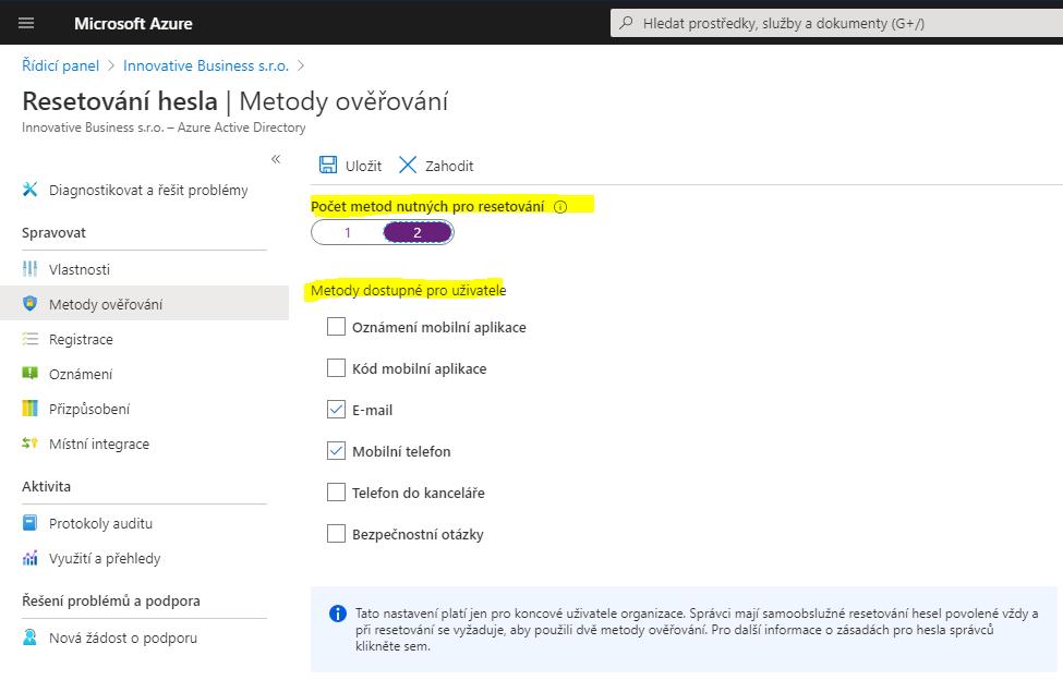 Jak umožnit uživatelům v organizaci Microsoft 365 resetovat hesla 1