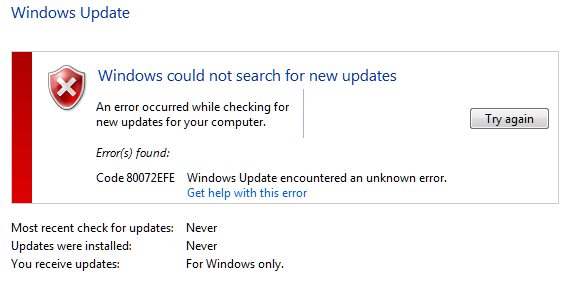 Windows Update chyba 80072EFE po čisté instalaci Windows 7 1