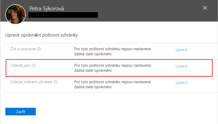 Delegace e-mailu Office 365 - Odeslat jako