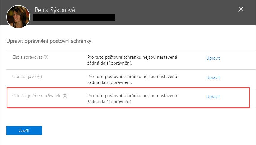 Delegace e-mailu Office 365 - Odeslat jménem