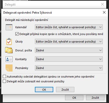 Outlook - nastavení práv delegáta