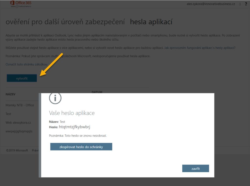 Vytvoření hesla aplikace Office 365