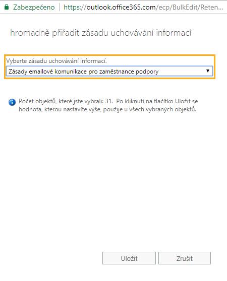 Nastavení Archivu emailů v Exchange Online 21