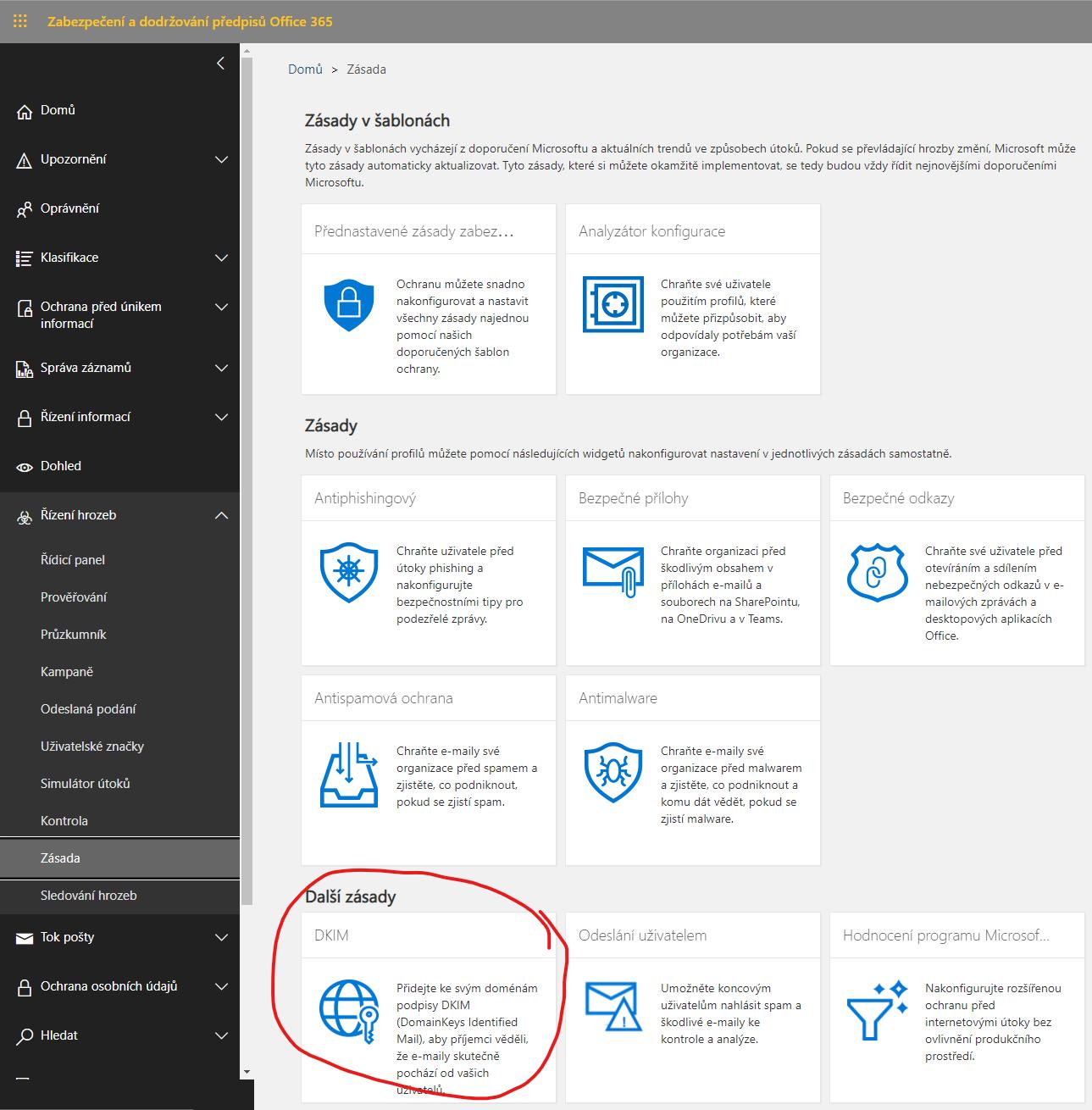 DKIM nastavení zabezpečení Microsoft 365