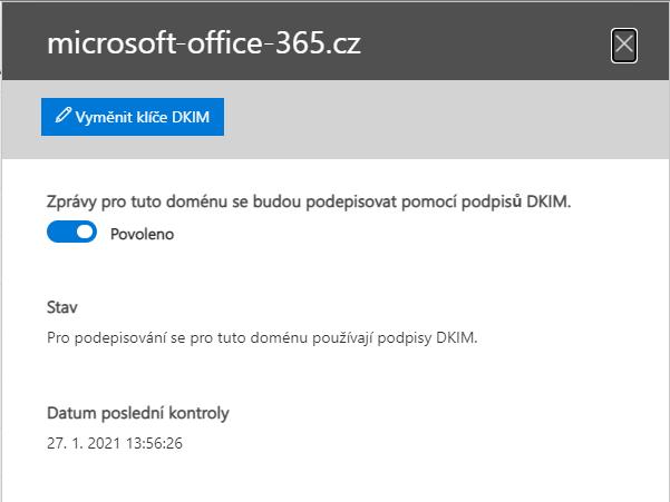 DKIM povolené pro doménu v Microsoft 365