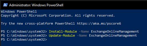 Připojení k Exchange Online pomocí PowerShellu 5