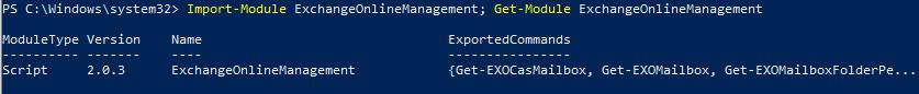 Import-Module ExchangeOnlineManagement
