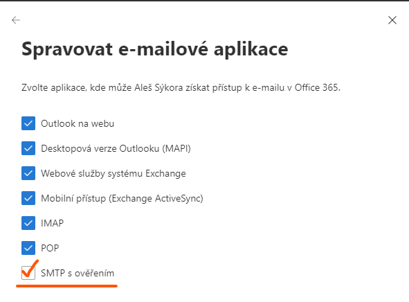 Povolení SMTP Auth pro odesílání z aplikací třetích stran a tiskáren jménem uživatele Microsoft 365 1